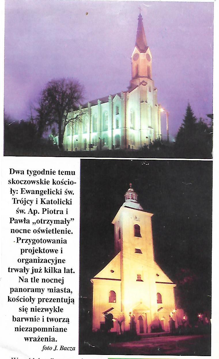 """Odc. 31 z cyklu """"Tak było""""- Podświetlenie skoczowskich kościołów."""